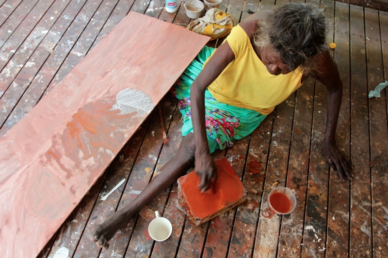 Barrupu Yunupingu working at Yirrkala's art centre, North East Arnhem Land, 2012.