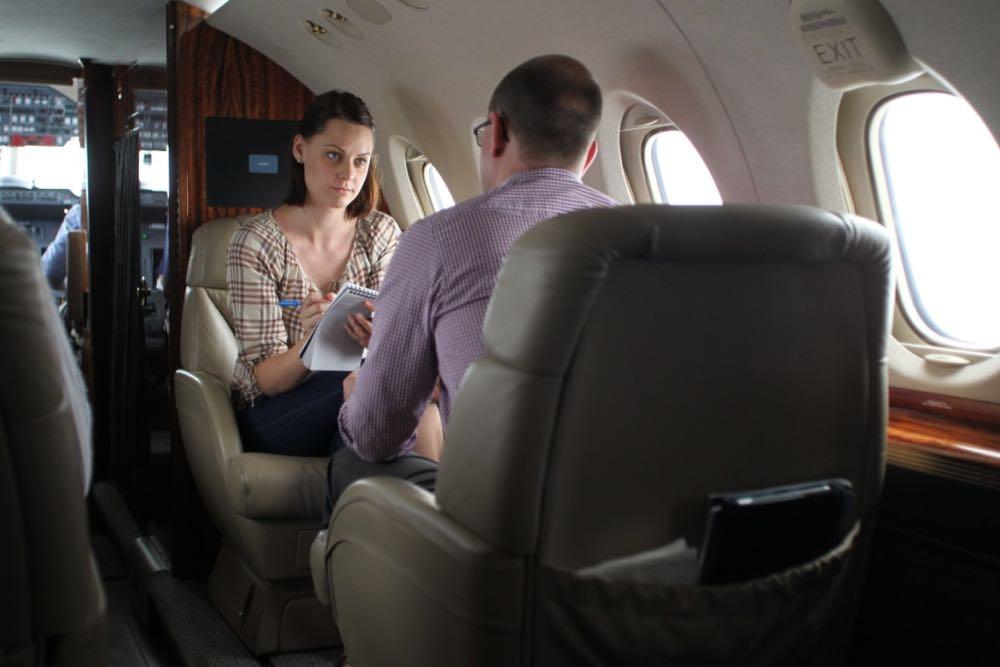 Koren Helbig interviewing former Queensland deputy premier Andrew Fraser