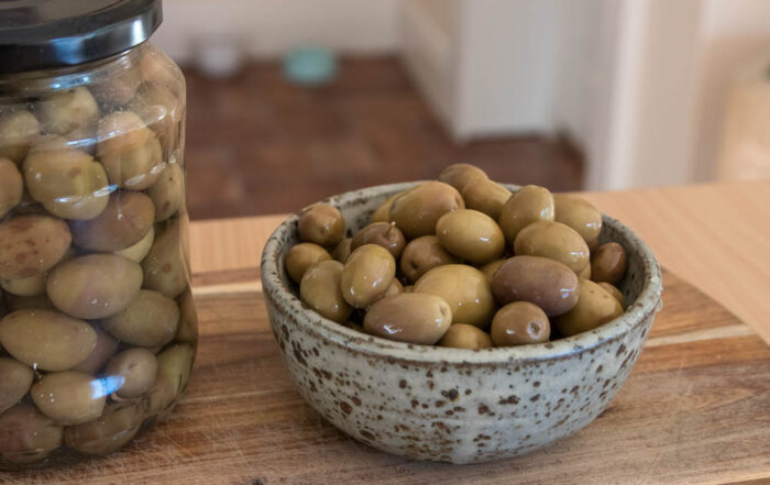 Foraged and cured homemade olives.