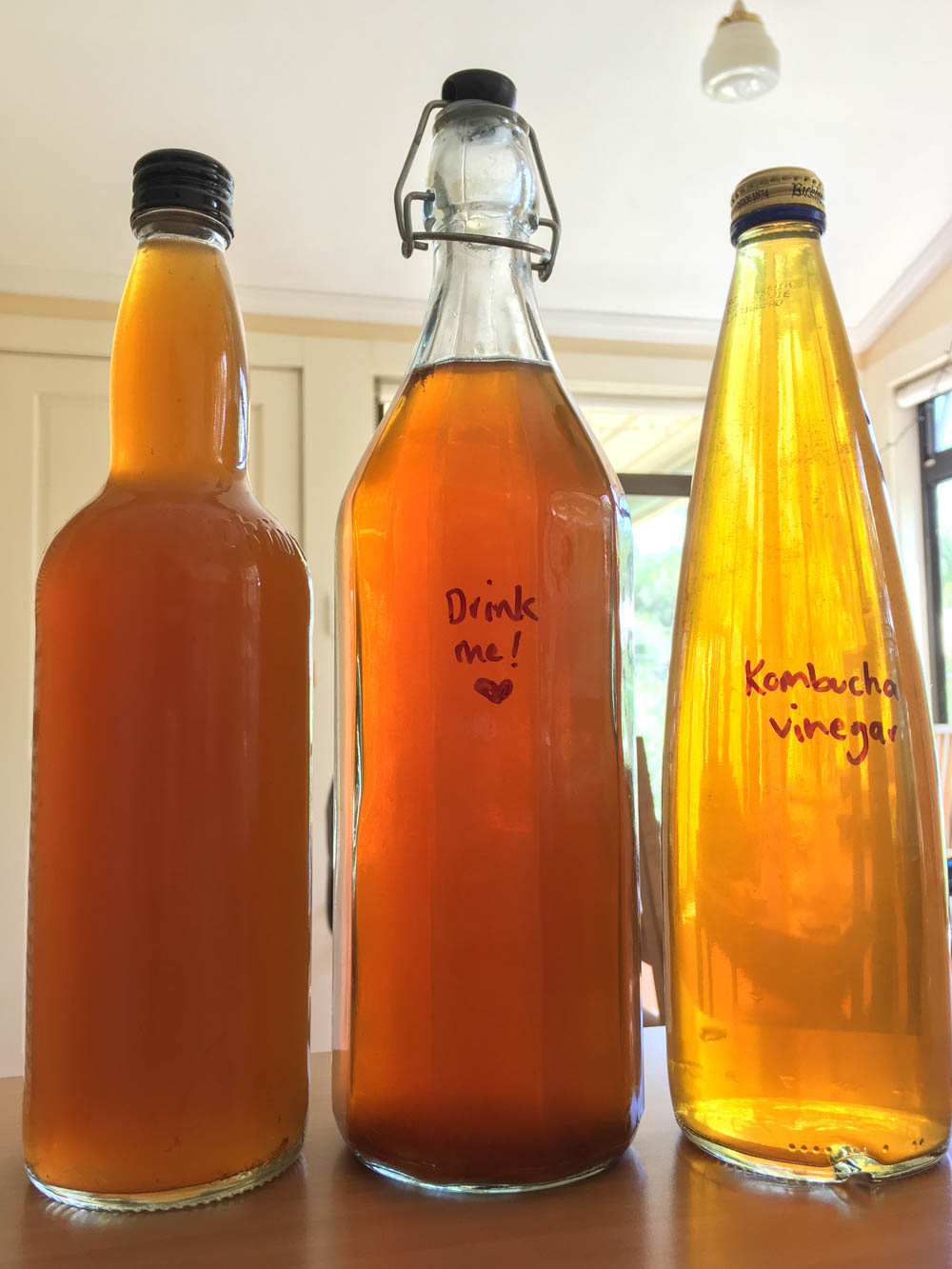 Storing kombucha vinegar for future use.
