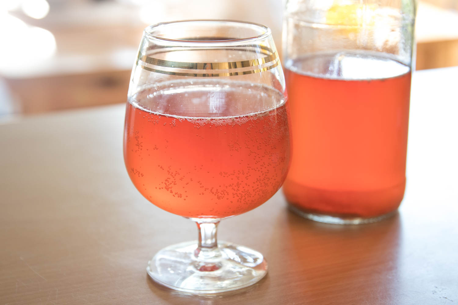 Bubbly, delicious homemade kombucha.