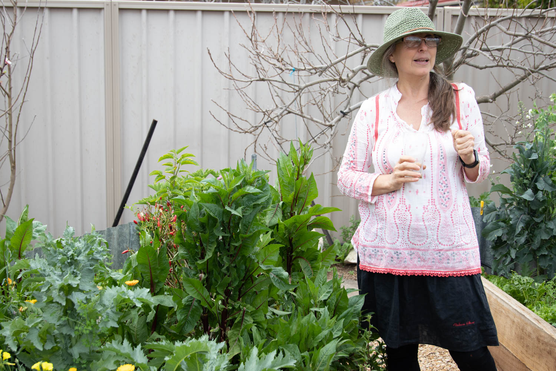 Patrizia in her herb garden.