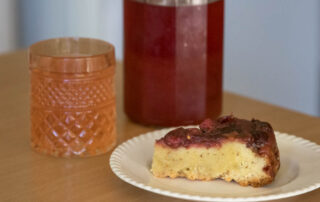 The plum shrub and upside-down plum cake go quite well together.