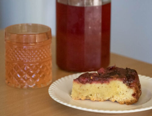 Foraged sour plum shrub syrup + an upside-down plum cake