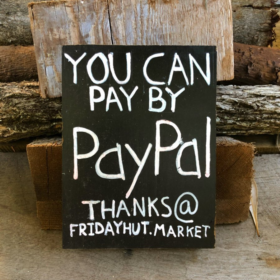 Friday Hut Market allows payment via PayPal